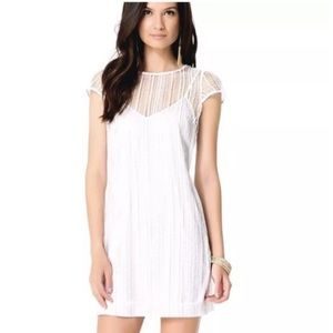 Bebe White Net Macrame Shift Dress w/ underlay XXS